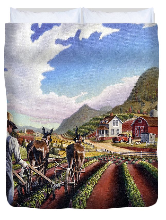 Appalachian Duvet Cover featuring the painting Appalachian Folk Art Summer Farmer Cultivating Peas Farm Farming Landscape Appalachia Americana by Walt Curlee