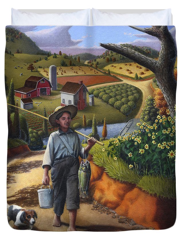 Boy And Dog Duvet Cover featuring the painting Boy And Dog Farm Landscape - Flashback - Childhood Memories - Americana - Painting - Walt Curlee by Walt Curlee