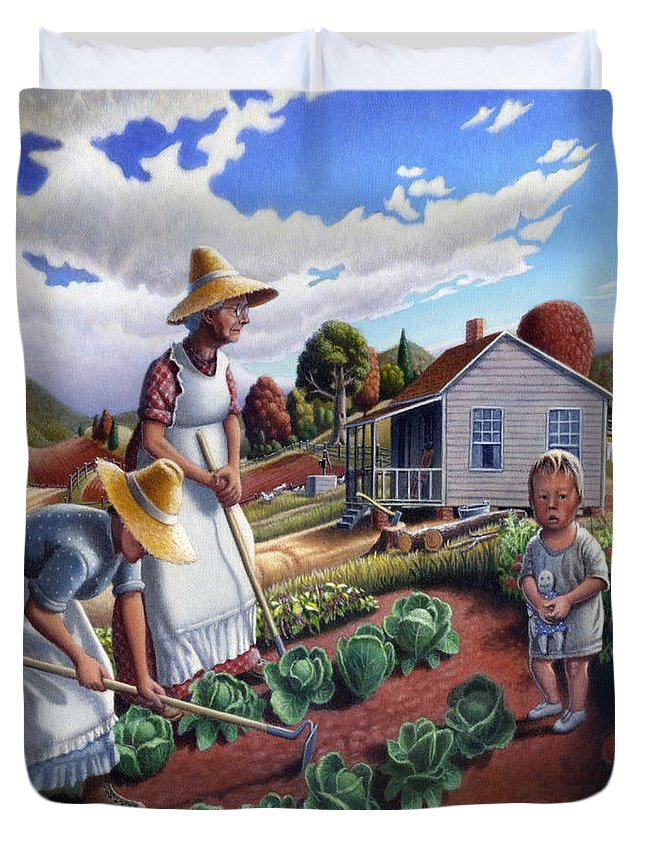 Farm Family Duvet Cover featuring the painting Family Vegetable Garden Farm Landscape - Gardening - Childhood Memories - Flashback - Homestead by Walt Curlee