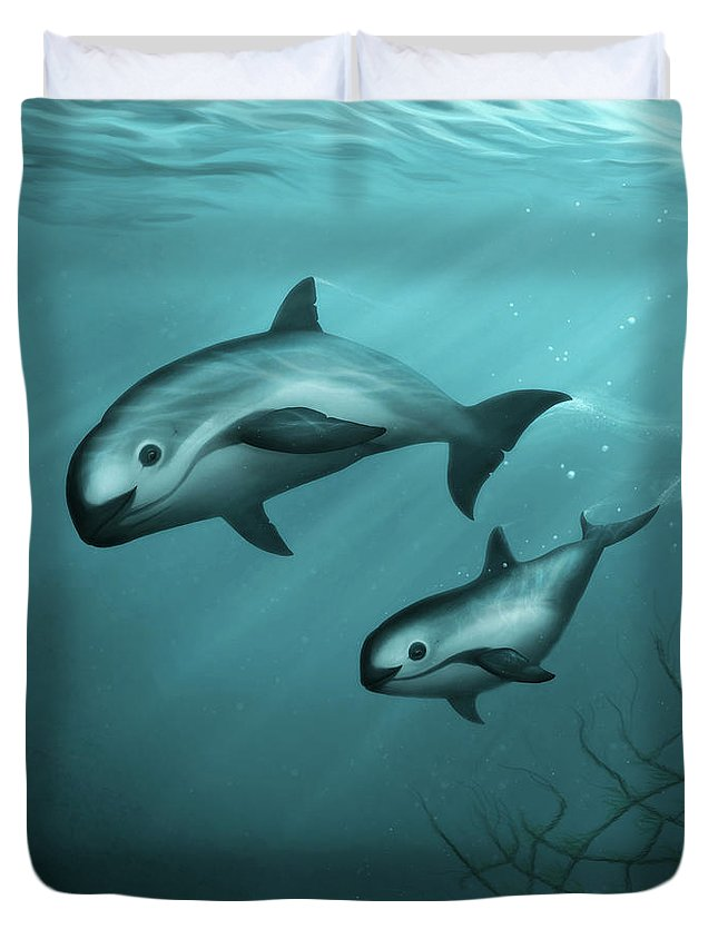 Vaquita Duvet Cover featuring the painting Treacherous Waters Vaquita Porpoise by Amber Marine