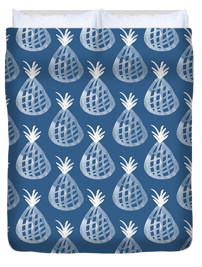 Indigo Duvet Cover featuring the mixed media Indigo Pineapple Party by Linda Woods