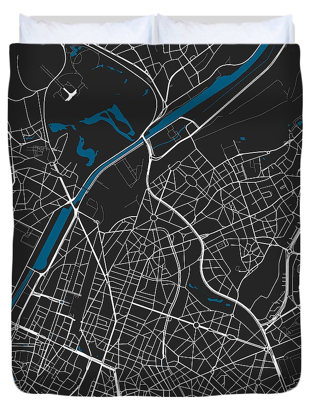Map Duvet Cover featuring the digital art Brussels City Map Black Colour by Marina Constandinou