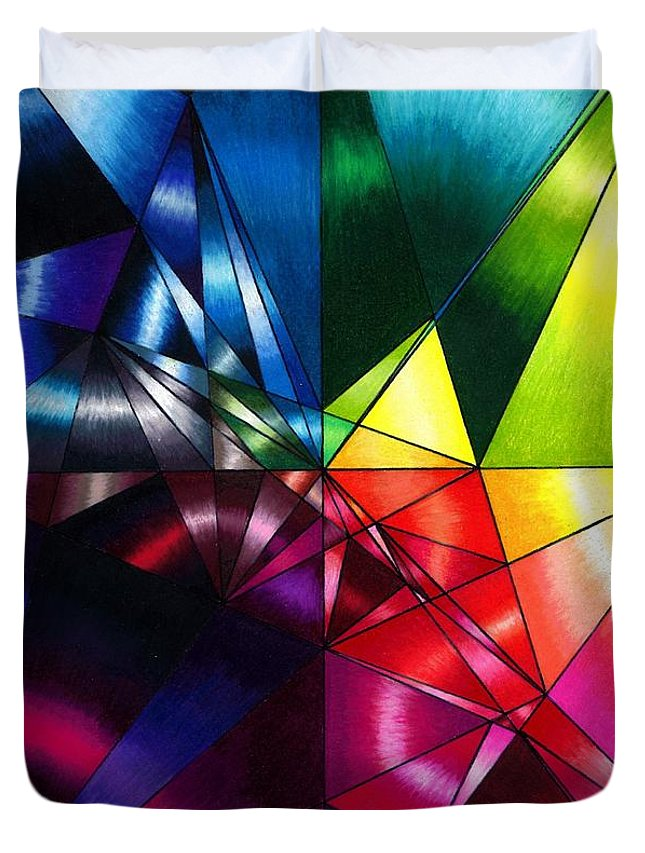 Rainbow Duvet Cover featuring the drawing Shattered Rainbow Triangles Optical Art by Nalinne Jones