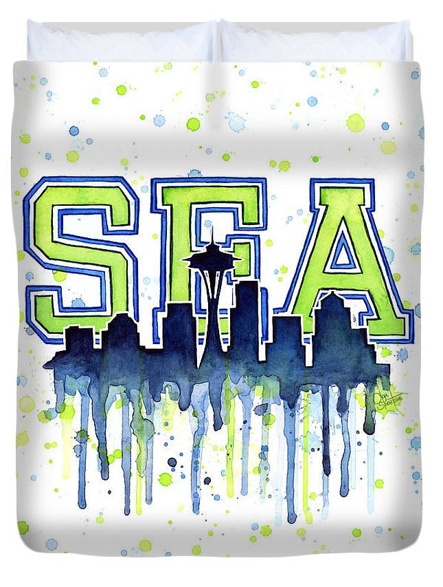 Watercolor Duvet Cover featuring the painting Seattle Watercolor 12th Man Art Painting Space Needle Go Seahawks by Olga Shvartsur