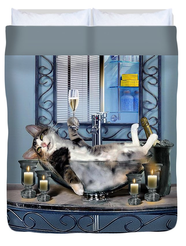 Funny Pet Print Duvet Cover featuring the painting Funny Pet Print With A Tipsy Kitty by Regina Femrite