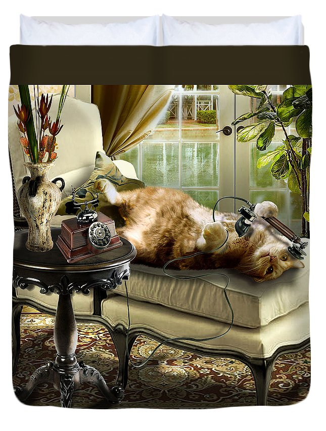 Pet Cat Painting Duvet Cover featuring the painting Funny Pet Talking On The Phone by Regina Femrite