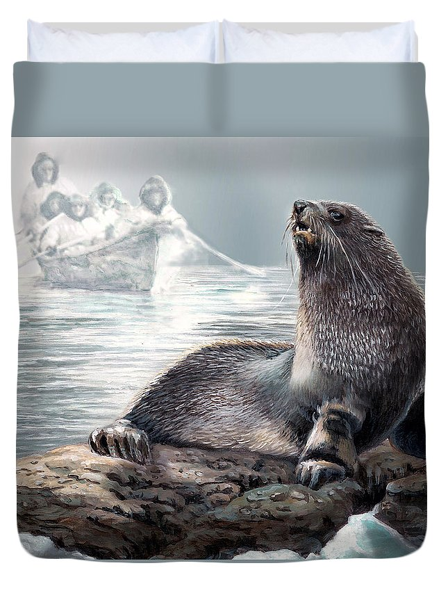 Painting By Gina Femrite Duvet Cover featuring the painting Harp Seal And Native Hunters by Regina Femrite