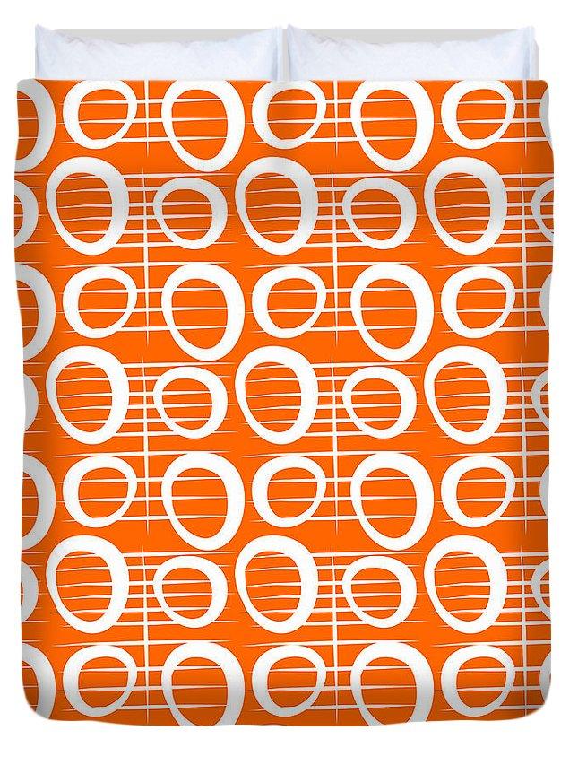 Orange Duvet Cover featuring the mixed media Tangerine Loop 1 by Linda Woods