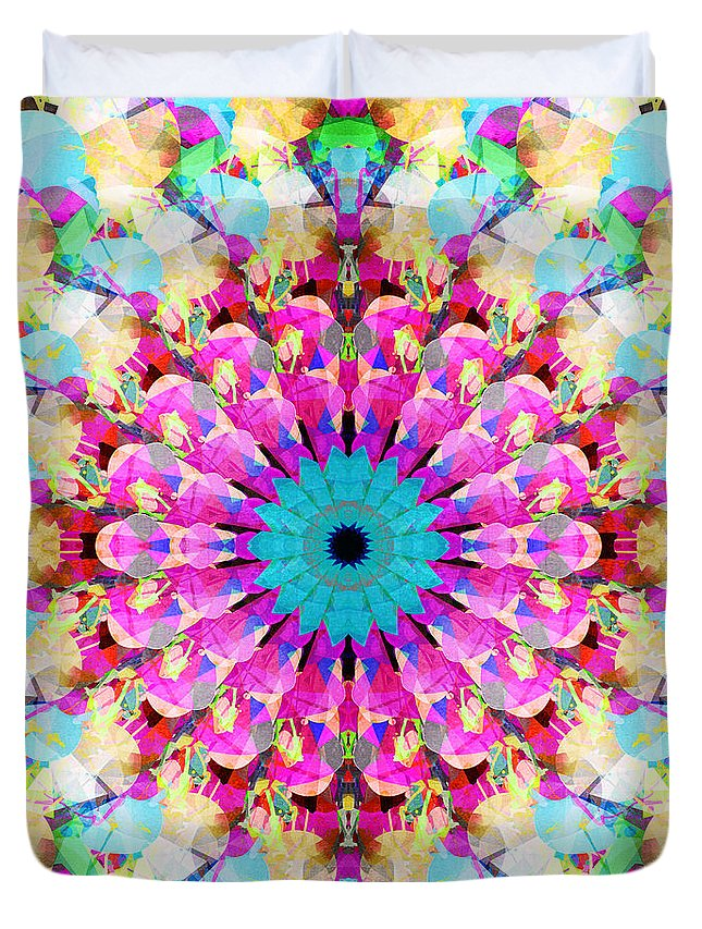 Mandala Duvet Cover featuring the digital art Mixed Media Mandala 9 by Phil Perkins