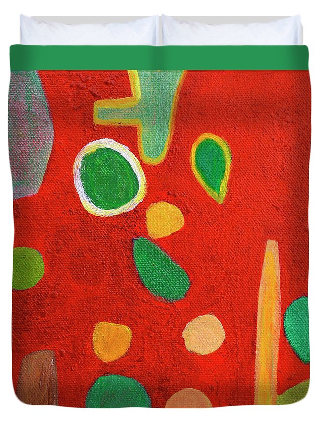 Playful Duvet Cover featuring the painting Scattered Things Over Red by Heidi Capitaine