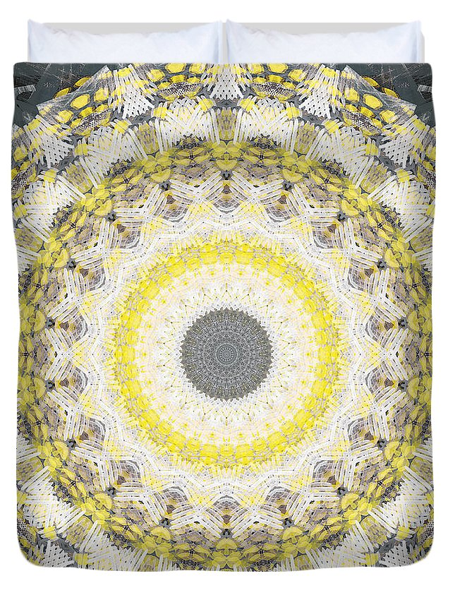 Concrete Duvet Cover featuring the painting Concrete and Yellow Mandala- Abstract Art by Linda Woods by Linda Woods
