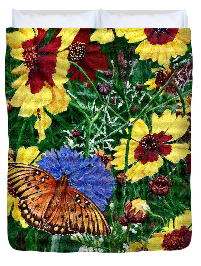 Spring Duvet Cover featuring the painting Butterfly Wildflowers Garden Oil Painting Floral Green Blue Orange-2 by Walt Curlee