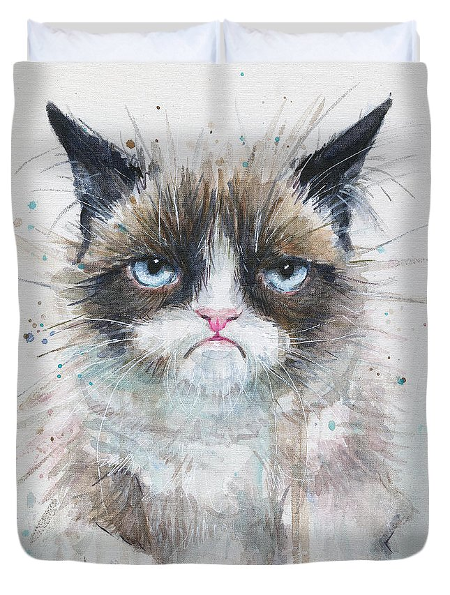 Watercolor Duvet Cover featuring the painting Grumpy Cat Watercolor Painting by Olga Shvartsur