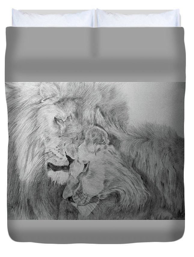 Lion Wild Cats Animals Drawing Paper Duvet Cover featuring the drawing In Love by Nadi Sabirova