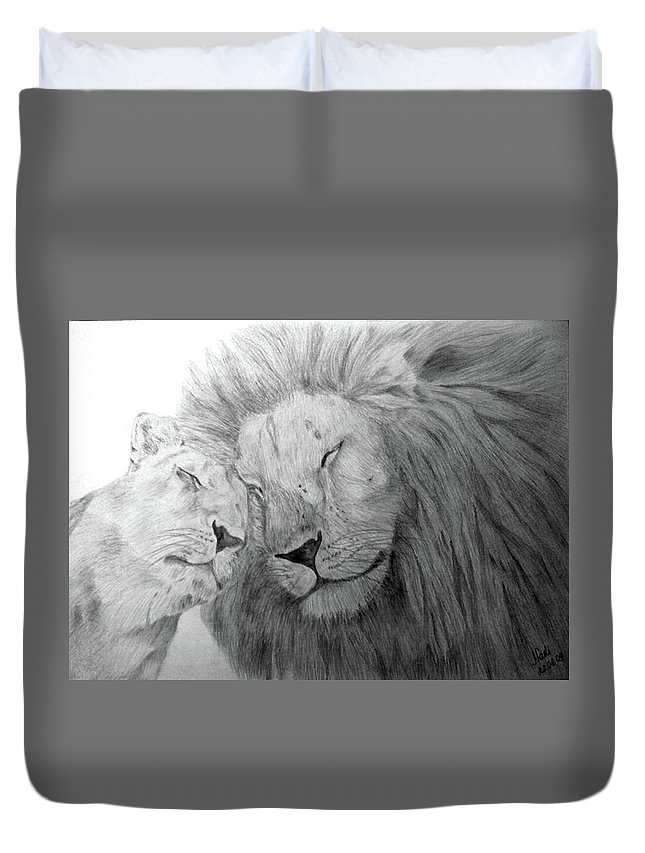 Lions Wild Cats Animals Drawing Pencil Paper Duvet Cover featuring the drawing Love by Nadi Sabirova