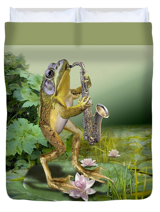 Animal Picture Duvet Cover featuring the painting Humorous Frog Plying Saxophone by Regina Femrite