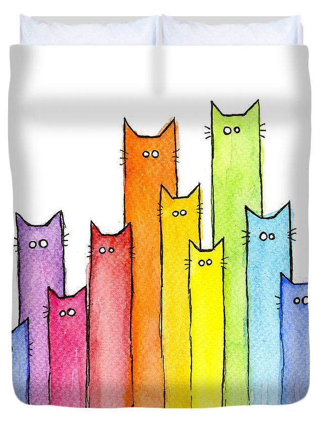 Watercolor Duvet Cover featuring the painting Rainbow of Cats by Olga Shvartsur