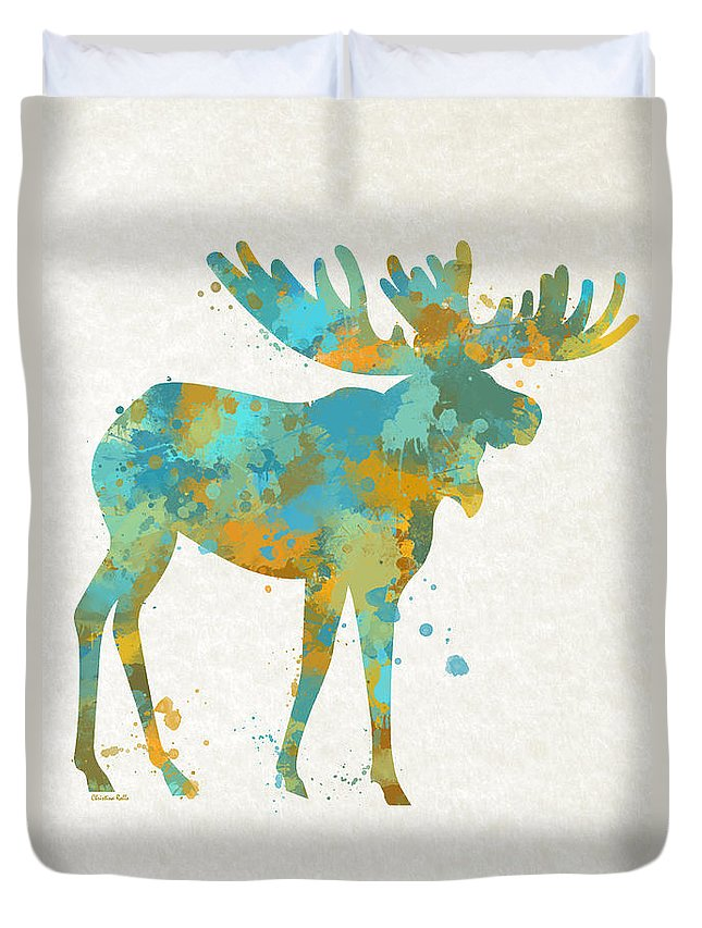 Moose Duvet Cover featuring the mixed media Moose Watercolor Art by Christina Rollo