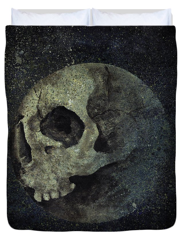 Surreal Painting Duvet Cover featuring the painting Wrong Half Of The Moon by Marco Paludet