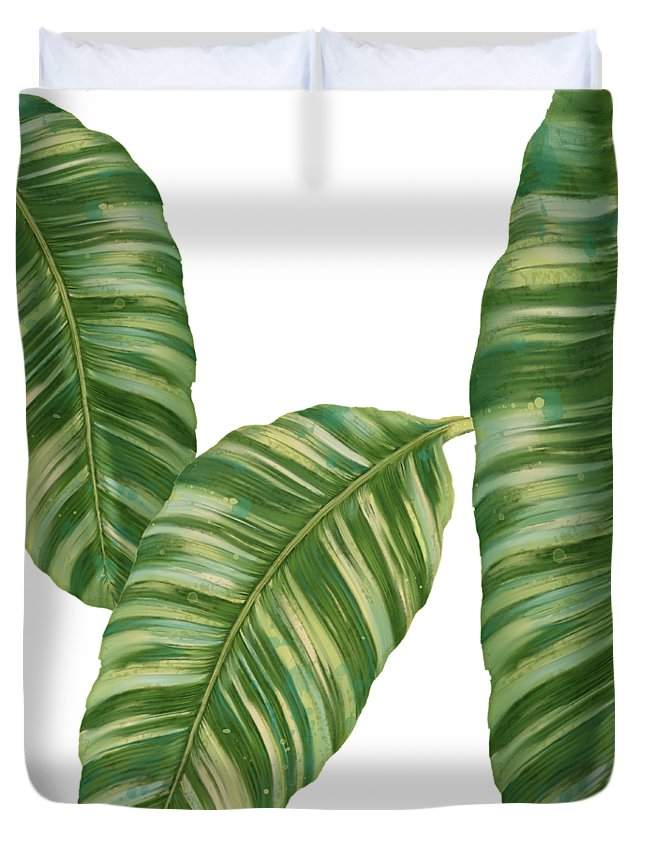 Tropical Duvet Cover featuring the painting Rainforest Resort - Tropical Banana Leaf by Audrey Jeanne Roberts