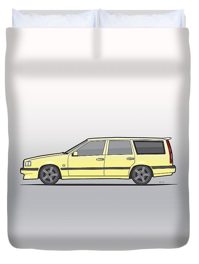 Car Duvet Cover featuring the digital art Volvo 850r 855r T5-r Swedish Turbo Wagon Cream Yellow by Monkey Crisis On Mars