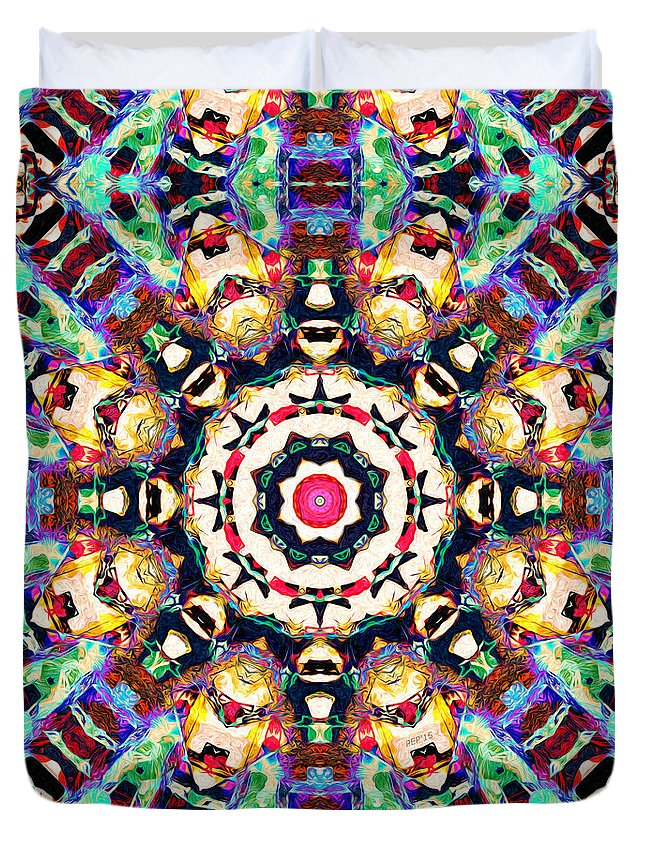 Abstract Duvet Cover featuring the digital art Colorful Concentric Abstract by Phil Perkins