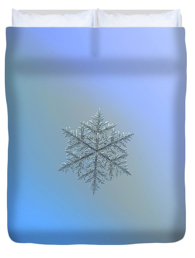 Snowflake Duvet Cover featuring the photograph Snowflake Photo - Majestic Crystal by Alexey Kljatov
