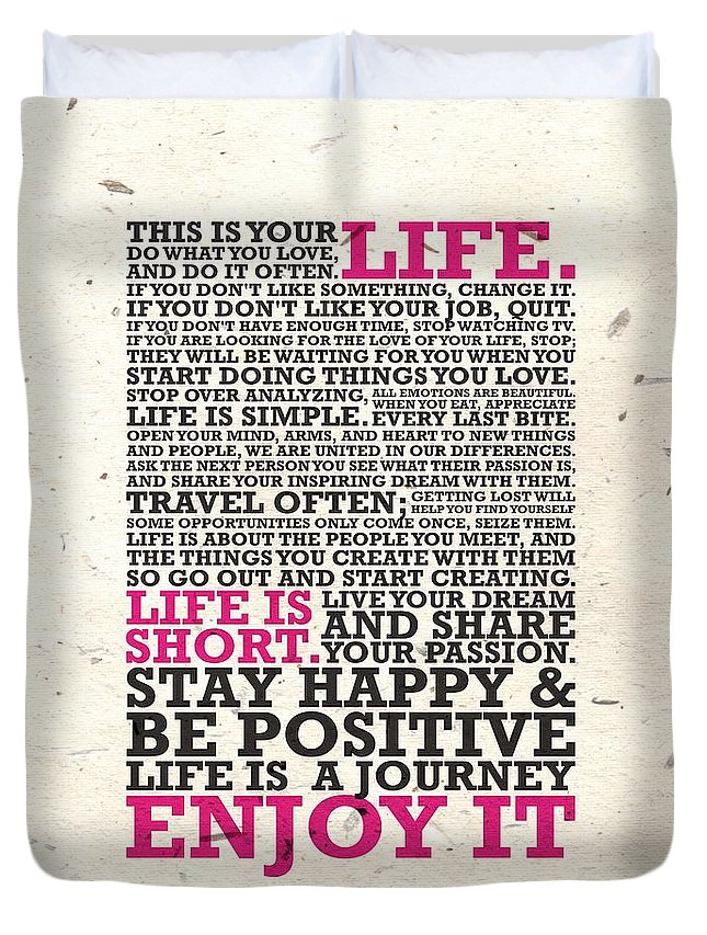 This Is Your Life Do What You Love Inspirational Quotes Poster Duvet Mesmerizing This Is Your Life Quote Poster