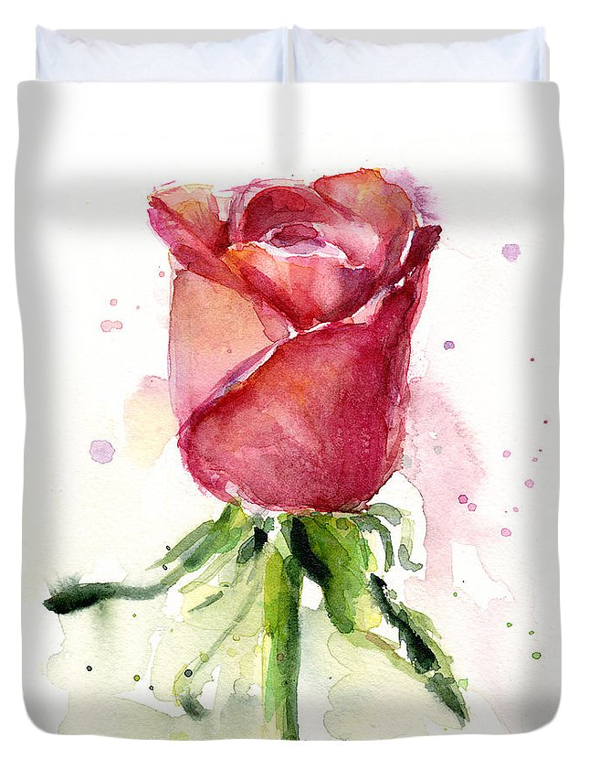 Rose Duvet Cover featuring the painting Rose Watercolor by Olga Shvartsur