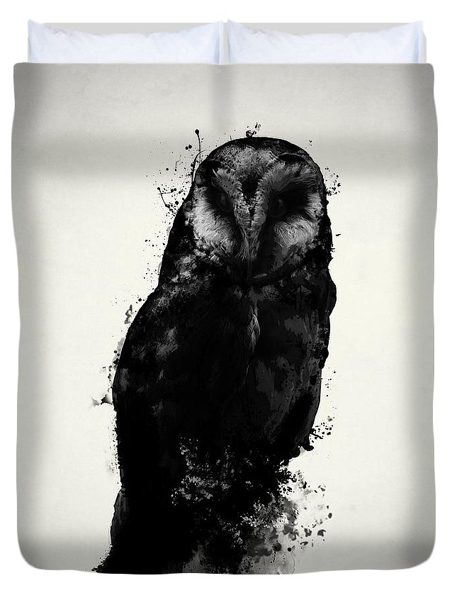 Owl Duvet Cover featuring the mixed media The Owl by Nicklas Gustafsson