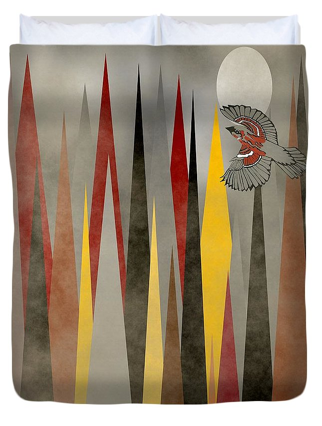 Swallow Art Duvet Cover featuring the mixed media Soaring Swallow by Kathleen Sartoris