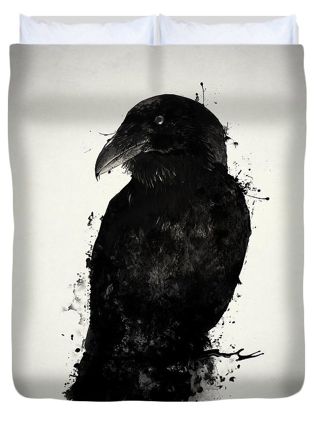Raven Duvet Cover featuring the mixed media The Raven by Nicklas Gustafsson