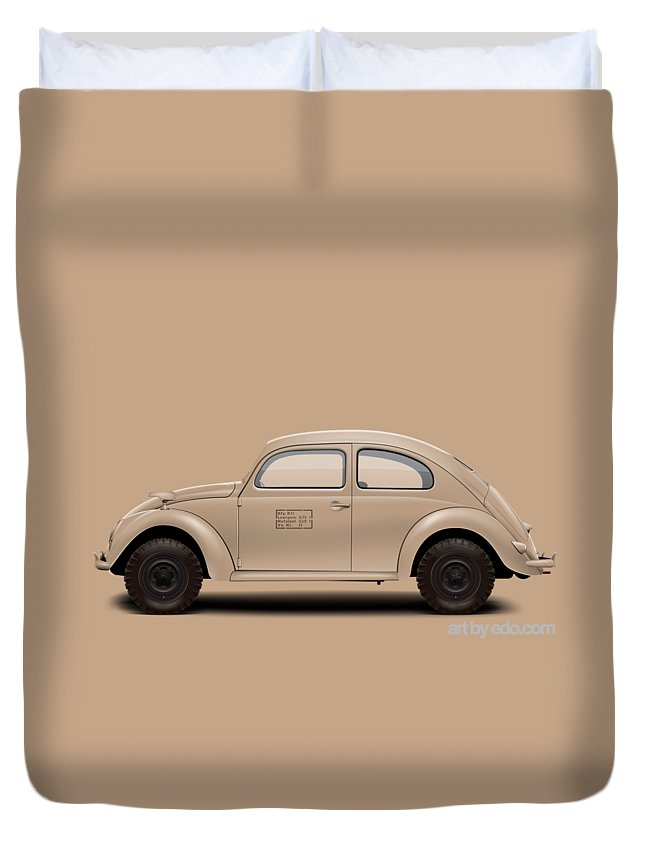 Kdf Duvet Cover featuring the digital art 1943 Kdf Type 83e - Sand by Ed Jackson
