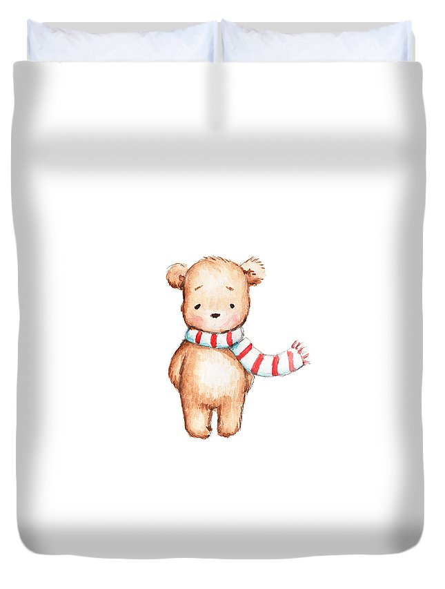 Bear Duvet Cover featuring the painting Cute Teddy Bear With Red And White Scarf by Anna Abramska