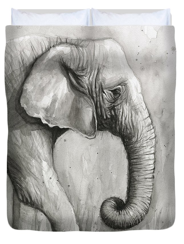 Elephant Duvet Cover featuring the painting Elephant Watercolor by Olga Shvartsur