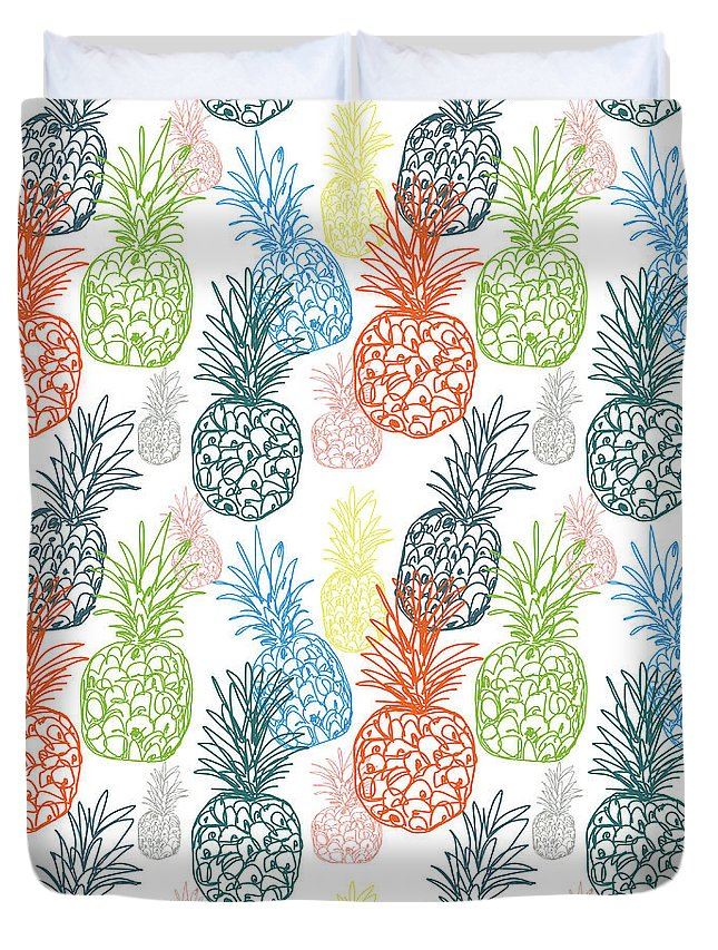 Pineapple Duvet Cover featuring the digital art Happy Pineapple- Art by Linda Woods by Linda Woods