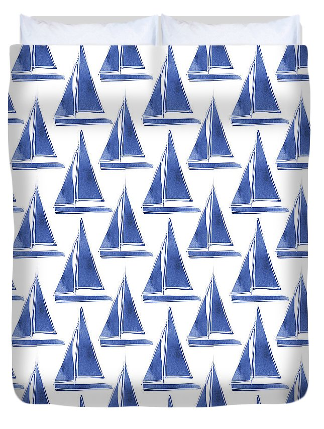 Boats Duvet Cover featuring the digital art Blue and White Sailboats Pattern- Art by Linda Woods by Linda Woods