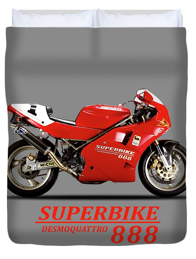 Ducati 888 Duvet Cover featuring the photograph Ducati 888 by Mark Rogan