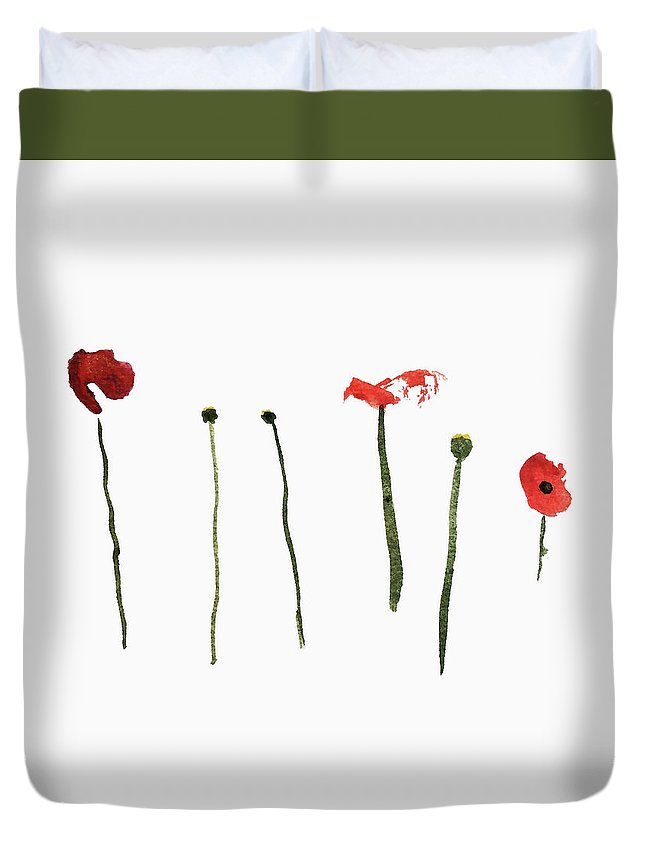 Poppy Duvet Cover featuring the painting Red Poppies by Stephanie Peters