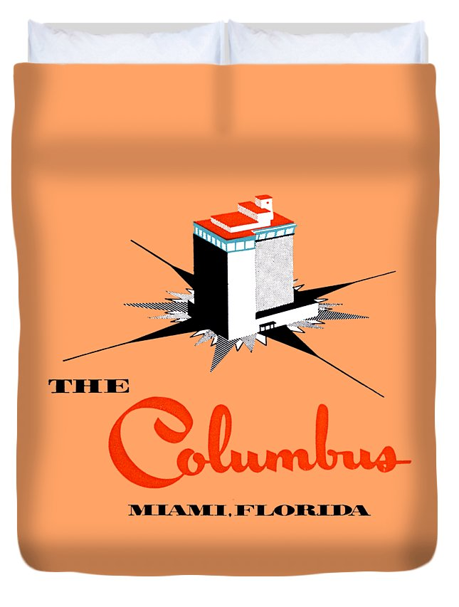 Florida Duvet Cover featuring the painting 1955 Columbus Hotel Of Miami Florida by Historic Image