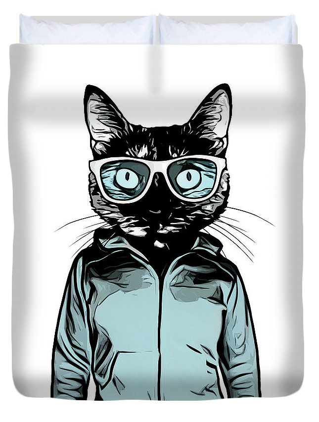 Cat Duvet Cover featuring the mixed media Cool Cat by Nicklas Gustafsson