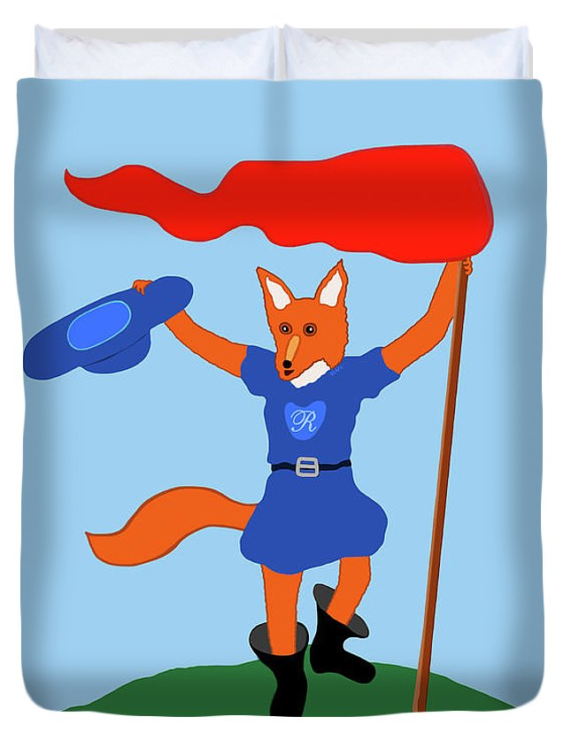 Fairy Tale Duvet Cover featuring the painting Reynard The Fairy Tale Fox by Marian Cates