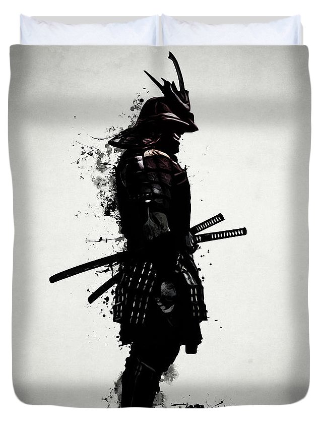 Samurai Duvet Cover featuring the mixed media Armored Samurai by Nicklas Gustafsson