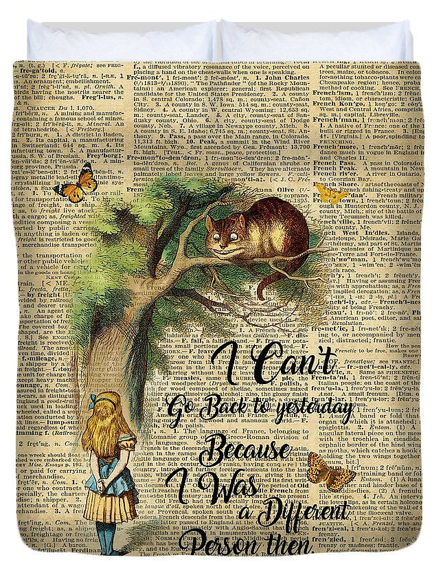 Alice In Wonderland Quote Cheshire Cat Vintage Dictionary Art Duvet Cover For Sale By Anna W