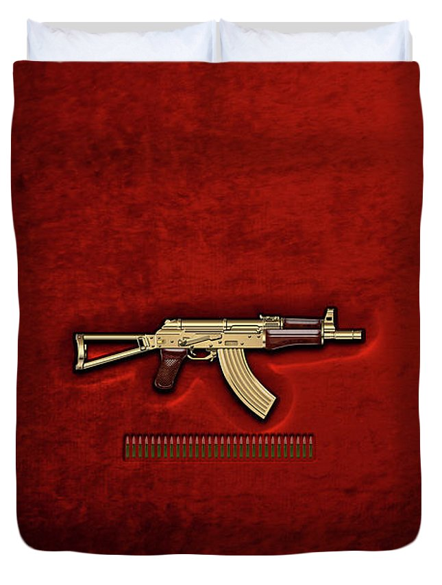 'the Armory' Collection By Serge Averbukh Duvet Cover featuring the photograph Gold A K S-74 U Assault Rifle With 5.45x39 Rounds Over Red Velvet  by Serge Averbukh