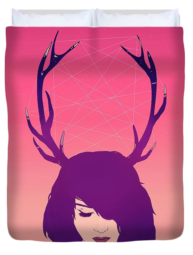 Jackalope Duvet Cover featuring the digital art Jackalope Lady by Hypathie Aswang