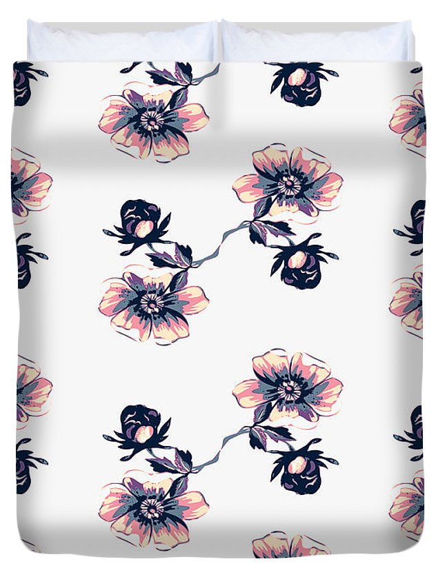 Rose Duvet Cover featuring the digital art Branch With Flowers Roses Isolated. Vintage Grunge Background. C by Svetlana Corghencea