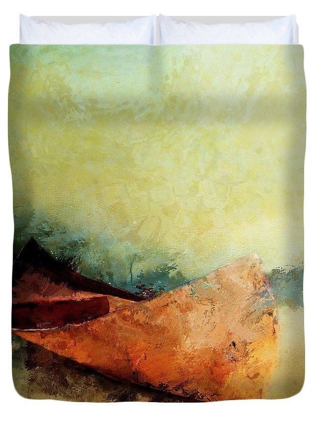 Canoe Duvet Cover featuring the painting Birch Bark Canoe At Rest by Christina VanGinkel