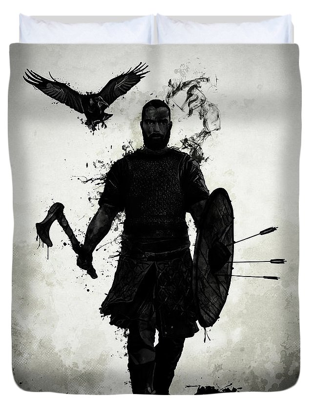 Viking Duvet Cover featuring the mixed media To Valhalla by Nicklas Gustafsson