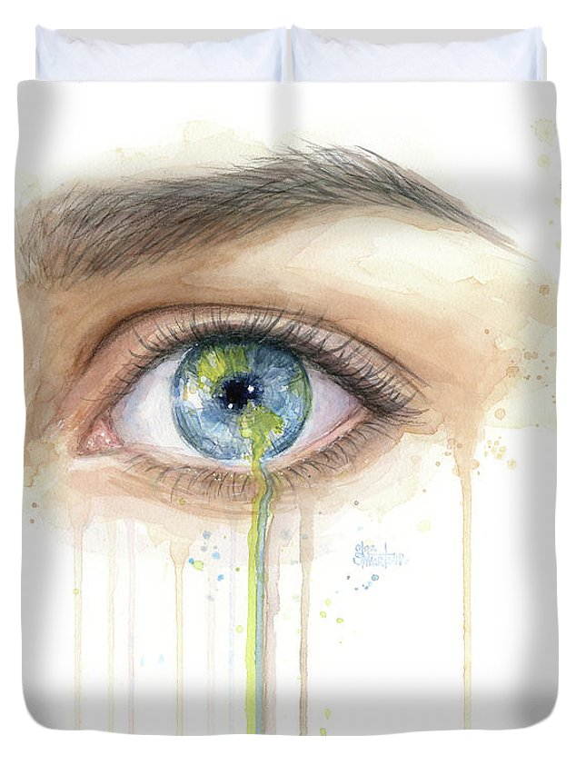 Crying Duvet Cover featuring the painting Earth In The Eye Crying Planet by Olga Shvartsur